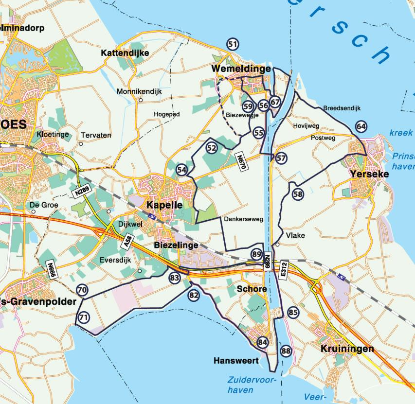 Fietsroute Moernering tussen Oosterschelde en Westerschelde 42 km
